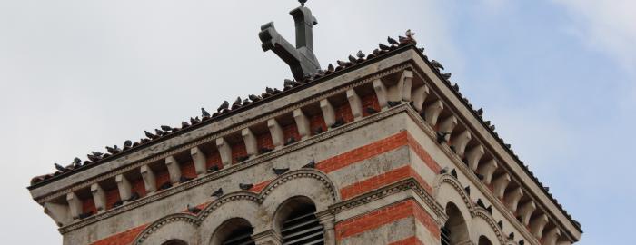 Le haut du clocher de Montrottier